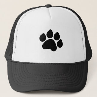 SImple Black Paw Print ANIMAL LOVER Trucker Hat