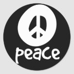 Simple Black Peace Sign Round Stickers