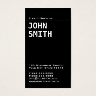 Simple Black Plastic Surgeon Business Card