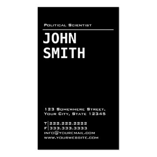 Simple Black Political Scientist Business Card