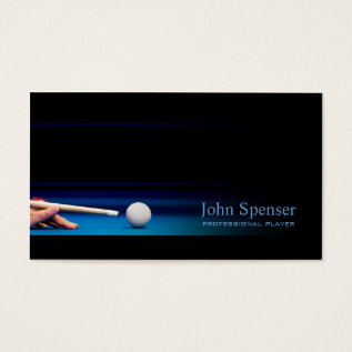 Simple Black Pro Pool Player/coach Card at Zazzle