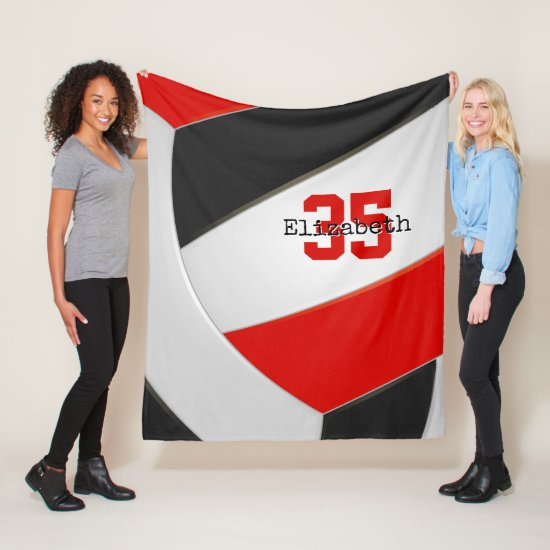Simple black red and white ginormous volleyball fleece blanket
