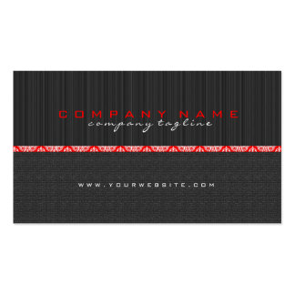 Simple Black & Red Stripes & LinenTexture Business Card