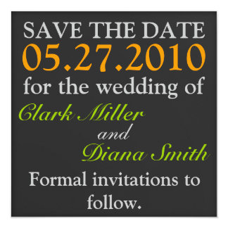 "Simple Black Save The Date Announcement 5.25"" Square Invitation Card"