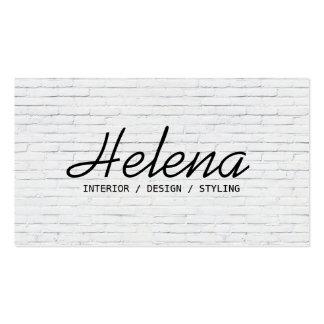 Simple black script modern white brick wall plain business card