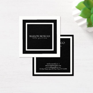 Simple Black Square Square Business Card