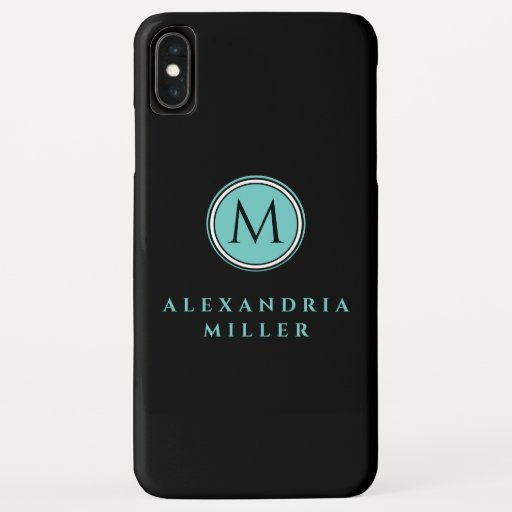 Simple Black & Teal Monogram Medallion | Name iPhone XS Max Case
