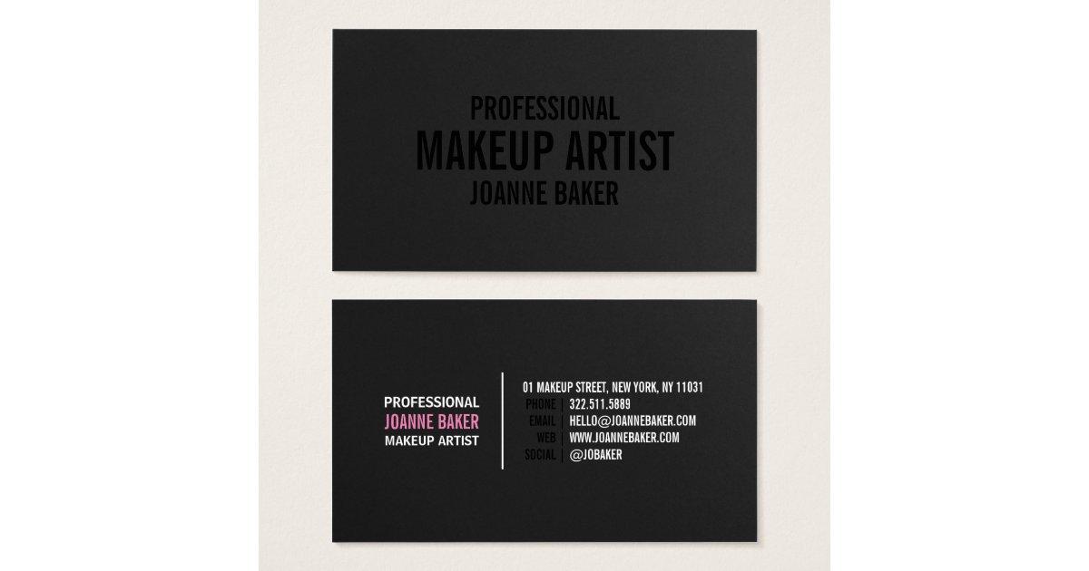 Simple black texture elegant makeup artist modern business card ...