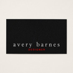 Simple Black Textured Leather Look Professional Business Card at Zazzle