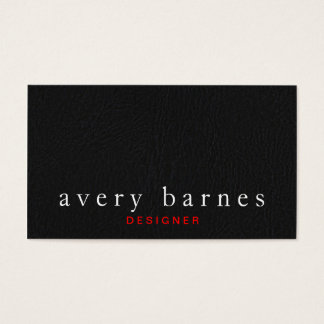 Simple Black Textured Leather Look Professional Business Card
