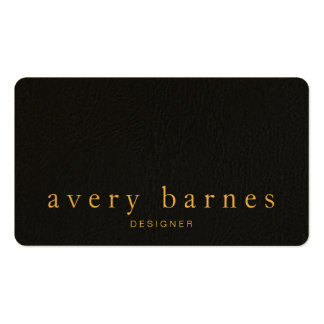 Simple Black Textured Leather Look Professional Double-Sided Standard Business Cards (Pack Of 100)
