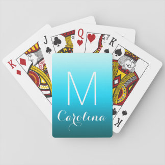 Simple Black to Aqua Blue Gradient Monogram Playing Cards