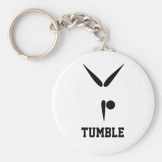 Simple Black Tumbler Gymnast Gymnastics Symbol Basic Round Button Keychain