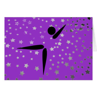 Simple Black Tumbler Gymnast | Gymnastics Symbol Card
