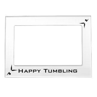 Simple Black Tumbler Gymnast Gymnastics Symbol Magnetic Photo Frame