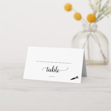 Simple Black Vegetarian Meal Option Wedding Place Card
