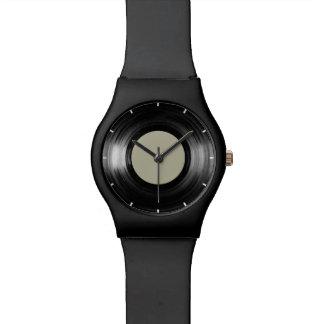 simple black vinyl record wristwatch