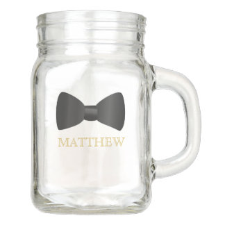 Simple Black Wedding Bowtie Personalized Mason Jar