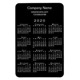 2020 Uf Calendar.Simple Black White 2020 Calendar Company Name Info Magnet