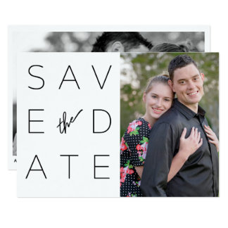Simple Black & White 2 Photo Save the Date Card