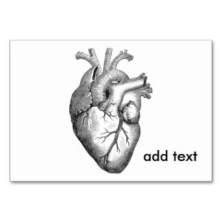 Simple Black White Anatomy Heart Illustration Card