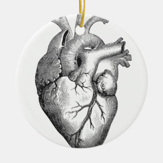 Simple Black White Anatomy Heart Illustration Ceramic Ornament