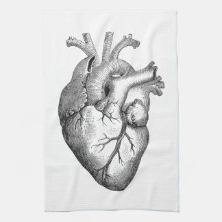 Simple Black White Anatomy Heart Illustration Kitchen Towel