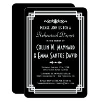 Simple Black & White Art Deco Rehearsal Dinner Card
