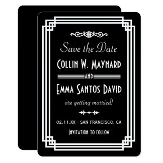 Simple Black & White Art Deco Save The Date Card