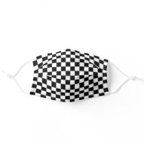 Simple Black White Auto Car Race Checkered Flags Adult Cloth Face Mask