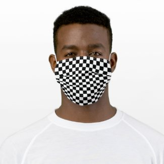 Simple Black White Auto Car Race Checkered Flags Cloth Face Mask