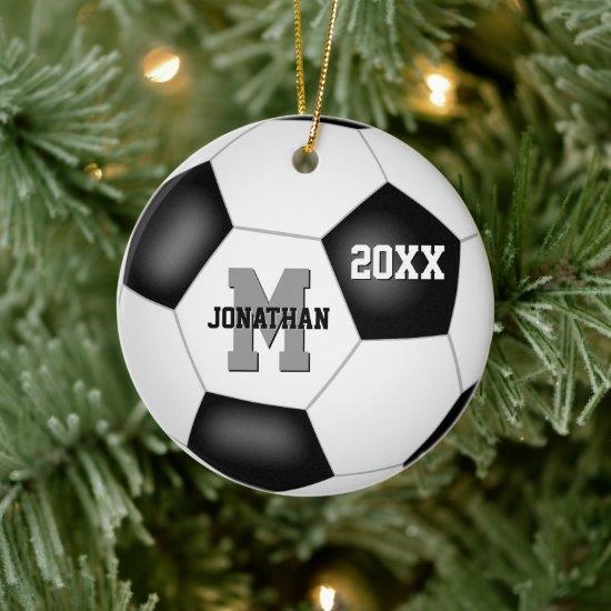 simple black white boy girl sports keepsake soccer ceramic ornament