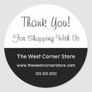 Simple Black White Business Customer Thank You Classic Round Sticker