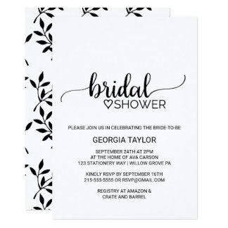 Simple Black & White Calligraphy Bridal Shower Card