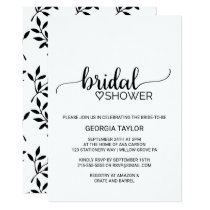 Simple Black & White Calligraphy Bridal Shower Invitation