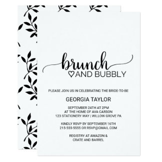 Simple Black & White Calligraphy Brunch and Bubbly Card
