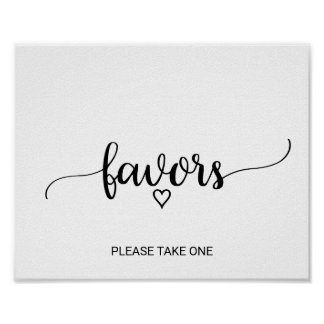 Simple Black & White Calligraphy Favors Poster