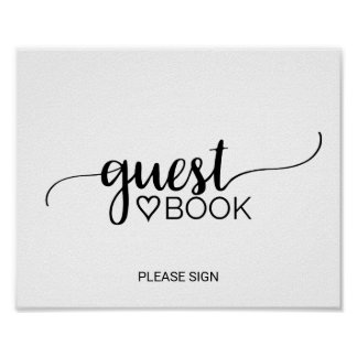Simple Black & White Calligraphy Guest Book Sign