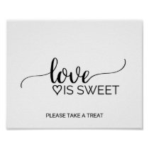 Simple Black White Calligraphy Love is Sweet Sign