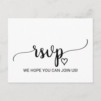 Simple Black & White Calligraphy Menu Choice RSVP