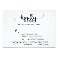 Simple Black & White Calligraphy Menu Choice RSVP Card