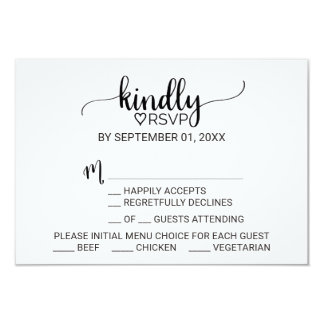 Simple Black & White Calligraphy Menu Choice RSVP Card