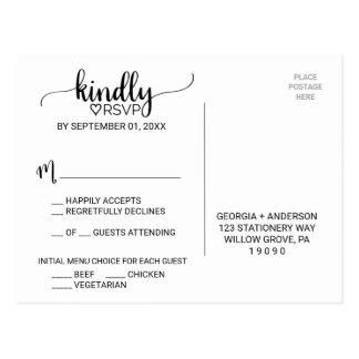 Simple Black & White Calligraphy Menu Choice RSVP Postcard