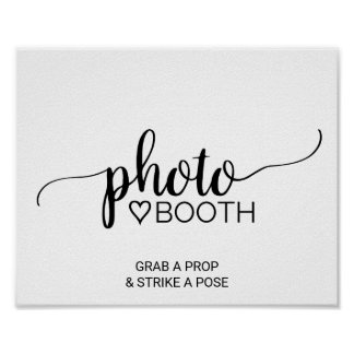 Simple Black & White Calligraphy Photo Booth Sign