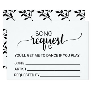 Simple Black & White Calligraphy Song Request Card