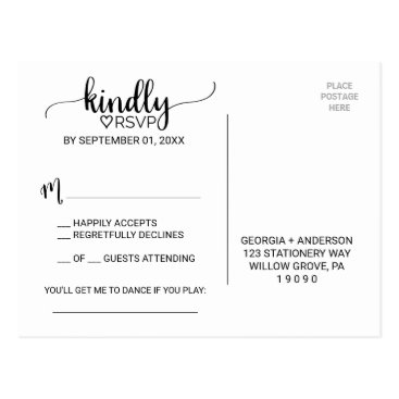 FreshAndYummy Simple Black & White Calligraphy Song Request RSVP Postcard