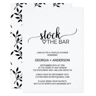 Simple Black & White Calligraphy Stock the Bar Invitation