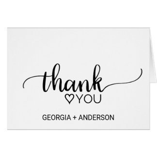 Simple Black & White Calligraphy Wedding Thank You Card