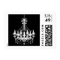 Simple Black White Chandelier Invitation Postage