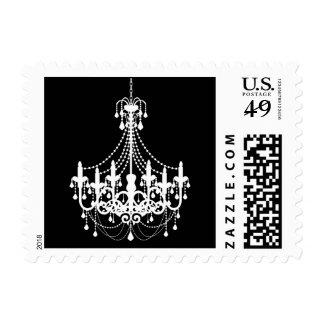 Simple Black White Chandelier Invitation Postage